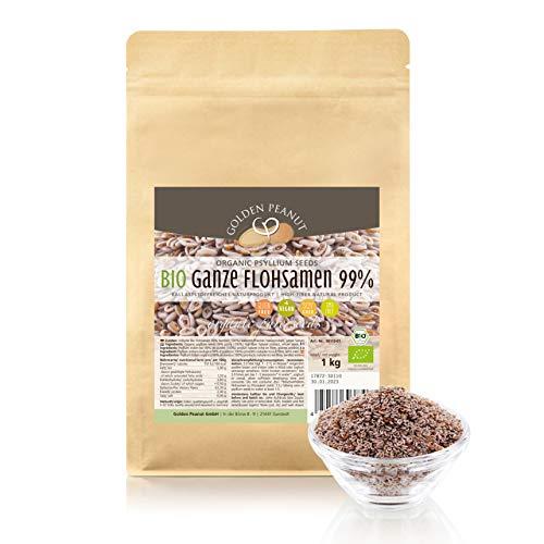 Bio Premium Flohsamen ganz 99 % rein, Premium Qualität 1 kg Beutel, in Deutchland getestet, das Original von der Marke Golden Peanut