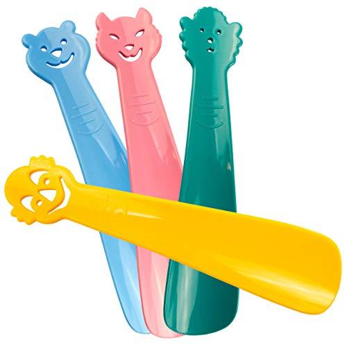 Lantelme Kinder Schuhanzieher Schuhlöffel Set 4 teilig Deutsche Herstellung Kunststoff in Grün Blau Gelb Rosa 3108