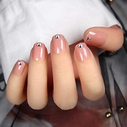 TJJL Faux ongles Mignon Français Couleur Unie Couleur Diamante Faux Ongles Art Autocollants Détachable Manucure Arcylique Court Ovale Plein Nail Avec