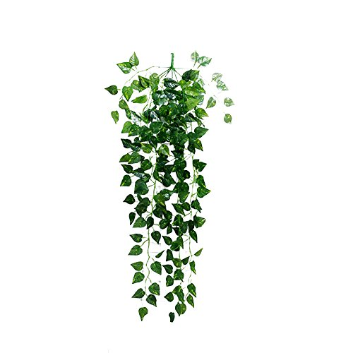 Artificial Fake Hanging Vine Plant Leaves Garland Home Garden Wall Decoration, Nourich Artificial Ivy, Hanging Vine Plant Leaf Garland Fake Foliage Leaves for Indoor Outdoor Decoration (A)