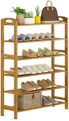 FF Schoenenkast voor entreemeubelen Schoenenkast met 6 planken Opbergplank met verticale plank Natuurlijke bamboe 24 paar schoenen 80 x 26 x 108 cm (breedte x diepte x hoogte)