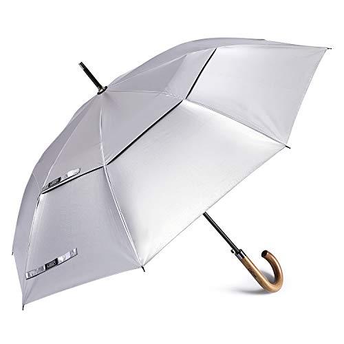 G4Free UV Protection Large Stick Umbrella Auto Open Wooden J Hook Handle Umbrellas 52 inch Sun Rain Windproof Double Canopy for Women Men (Silver/Black)