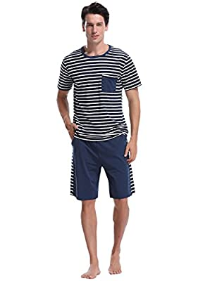 iClosam Men's Pajama Set Summer Short Sleeve Lounge Cotton Classic Striped Shorts & Shirt Sleepwear(S-XXL) Navy Blue from