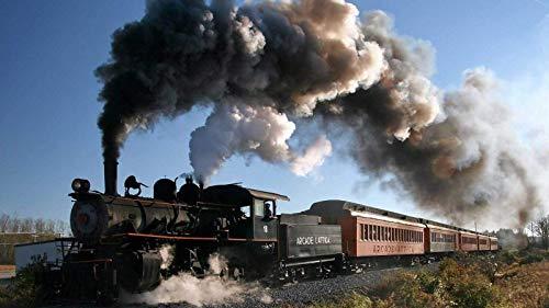 Tren ferrocarril locomotora de vapor árboles de humo plantas 1000 piezas de rompecabezas, juguetes educativos para niños, juegos de padres e hijos, juegos de desarrollo intelectual
