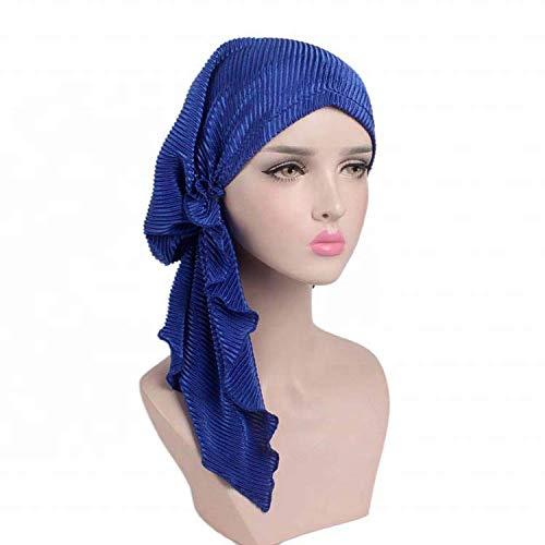 yimiss Hair Accessories Long-Tail Style Muslim Women Turban Hijab,Instant Turban Cotton Scarf Head Wrap Cancer Chemo Headwear (Option 4)