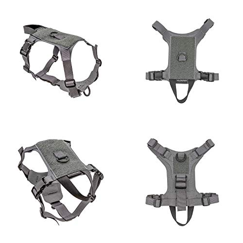 Lightweight Ventilated Tactical Pet Harness Ergonomic Fit Working Training Military Service Harness Easy Control for Small Medium Dogs or Cats (XS, Wolf Grey)