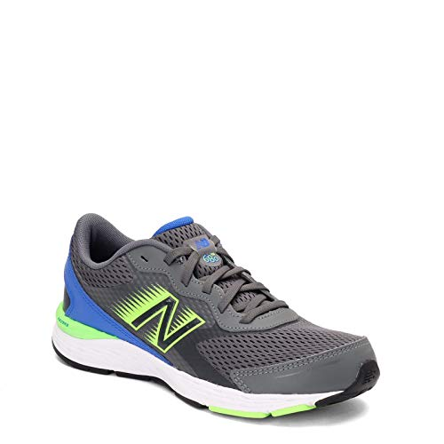 New Balance Kid's 680 V6 Lace-Up Running Shoe, Lead/Cobalt/Energy Lime, 5.5 M US Big Kid
