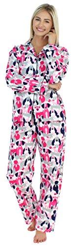 PajamaMania Flanell Pyjama für Damen, Schlafanzug, Rosa Hunde (PMF1002-2041-UK-XS)