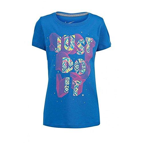 Nike JDI Constant Tee Yth Maglietta, Bambina, Blu/Rosa/Giallo/Bianco, S