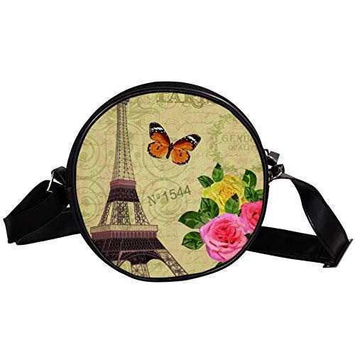 Round Crossbody Bag Small Handbag Ladies Fashion Shoulder Bags Messenger Bag Canvas Bag Waist Bag Accessories for Women - Paris Post Card