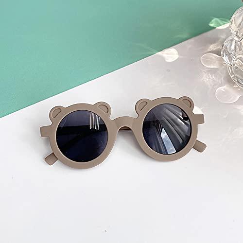 Gafas De Sol Gafas De Sol Redondas De Moda con Forma De Dibujos Animados Bonitos para Niño Y Niña, Gafas De Sol Clásicas con Protección UV, Graybear