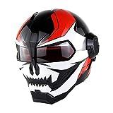 MOTOTK personalità Iron Man Casco da Motociclista Flip-up Casco Integrale Transformers Retro Harley Casco da Corsa per Uomo e Donna,B,XL