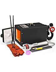 TOAUTO Portable Propane Forge Single Burner Large Capacity Knife Jewelry Metal Casting Kiln Tool Making Farrier Forge (Liner 5.5'' x 5.5'' x 12 '')