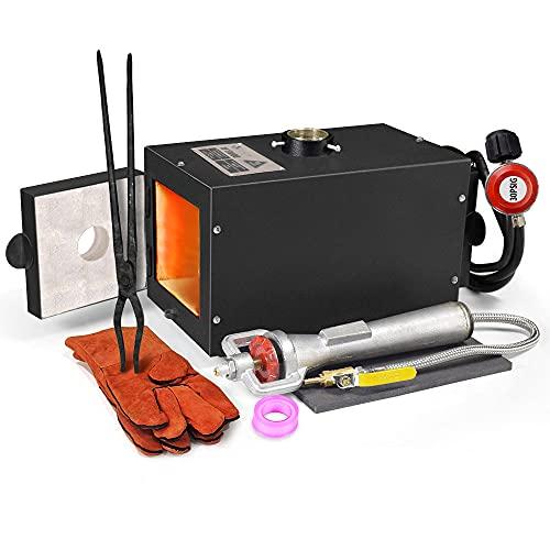 TOAUTO Portable Propane Forge Single Burner Large Capacity Knife Blacksmithing Forge Kit Metal Casting...