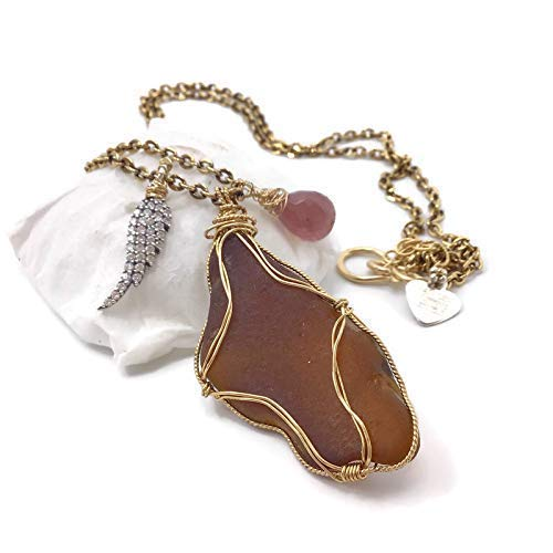 Recycled Beach Glass Max 41% Manufacturer OFFicial shop OFF Pave Angel Wing Ocean Necklace Lo Pendant -