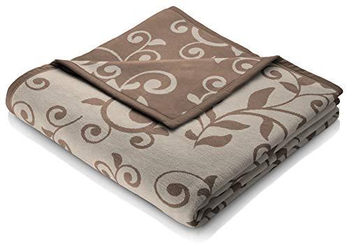 biederlack Kuscheldecke 150x200 cm I Cotton Pure-Ranke Wohndecke 100% Baumwolle I Made in Germany, braun-beige Gemustert