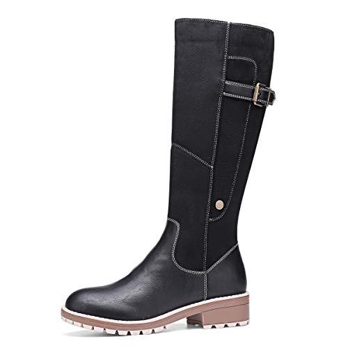 gracosy Botas Altas Mujer Invierno 2020 Zapatos Tacon Ancho Bajo Nieve Piel Forrado Calentitas Botas Antideslizante Peso Ligero Botines Cremallera Casuales (Ropa)