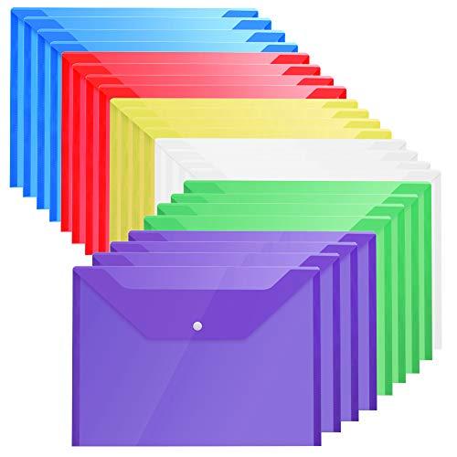 Plastic Envelopes Poly Envelopes - 24 Pack Poly Folders With Snap Button Closure Plastic Folders Premium Quality Document Folder A4 Size 6 Assorted Colors