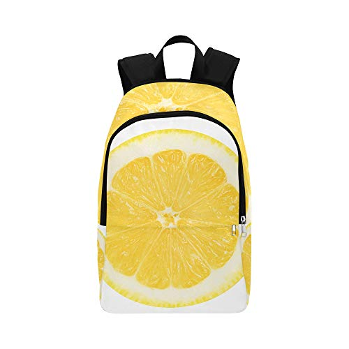 Juicy Yellow Slice of Lemon On A White Background Casual Daypack Travel Bag College School Backpack for Mens and Women