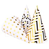 pink birthday cone hats - Boieo Gold Birthday Party Hats, 12 pcs Assorted