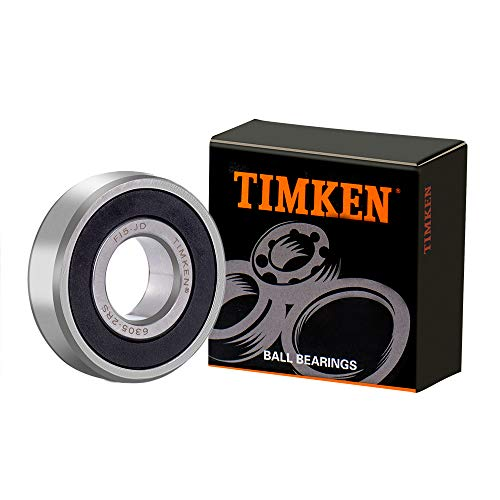 TIMKEN 6305-2RS 4 Pcs Double Rubber Seal Bearings 25x62x17mm, Pre-Lubricated and Stable Performance and Cost Effective, Deep Groove Ball Bearings.