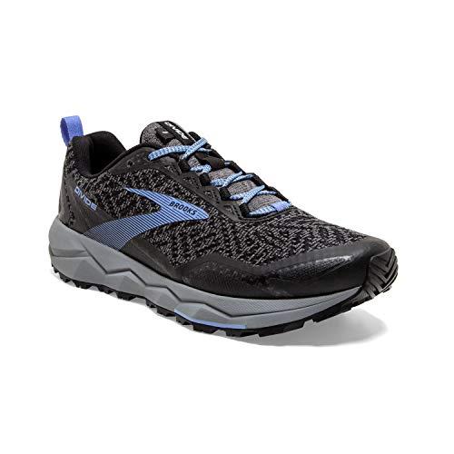 Brooks Womens Divide Running Shoe - Grey/Black/Cornflower Blue - B - 9.5