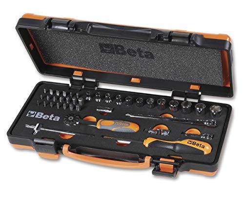 Beta 900/C12Mz - Juego de herramientas de trabajo profesionales, 12 llaves de vaso hexagonales, 20 puntas para destornillador y 7 accesorios de termoformato suave, en caja de chapa