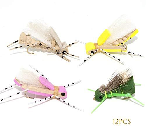 Outdoor Planet 12 Effective Foam Hopper Fly Fishing Flies Assortment | Dry Flies, Hoppers | Trout, Bass Fishing Lure