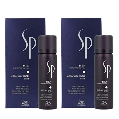 2 unidades Gradual Tone Black System Professional Men SP Wella Professionals negro 60 ml + 30 ml champú