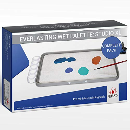 RedgrassGames Everlasting Wet Palette Studio XL Complete Pack Bundle - - 50 sheets/2 foams/Free wavy - Complete Pack - The Original palette for miniature painting, approved by pro painters