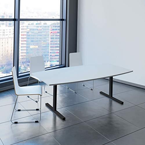 Weber Büroleben GmbH Easy Konferenztisch Bootsform 200x100 cm Lichtgrau Besprechungstisch Tisch, Gestellfarbe:Anthrazit