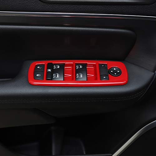 JeCar Window Lift Switch Cover Interior Button Trim Kit for Jeep Grand Cherokee 2011-2020 & Jeep Cherokee 2014-2020, Red