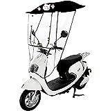 JXH Moto Elettrica Ombrello Baldacchino Tendalino Batteria Auto Parasole Parapioggia, Custodia Pieghevole Tenda Trasparente per Motorino Universale,