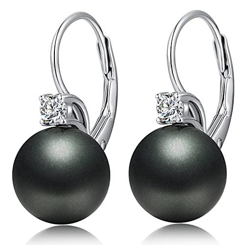 Pendientes de Perlas Negras Pendientes aro con perla Negros Pendientes perla plata de ley para Mujer Niña Pendientes Mujer Swarovski Perla Colgante Mujer Pendiente Negro Plata de Diamantes