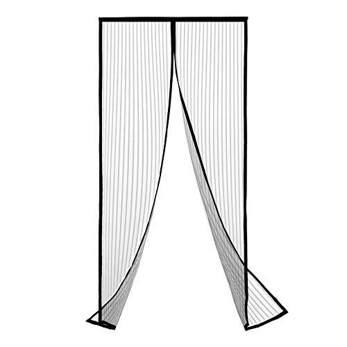 Helen&Me Magnetic Screen Door,Hands Free Fiberglass Mesh Curtain Front Door Screen Fits Doors up to 38 x 82 Inches (Black)