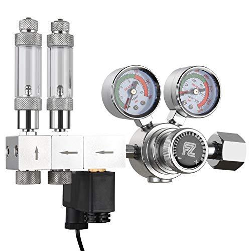 FZONE Acuario Pro Series Regulador de CO2 de Doble Etapa Presión de Salida Ajustable con solenoide CC, válvula de Aguja de Alta precisión integrada y Contador de Burbujas