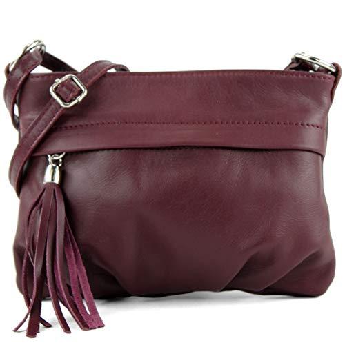 Borsa a tracolla da donna, pelle italiana, mini, T32, Colore:Bordeaux viola