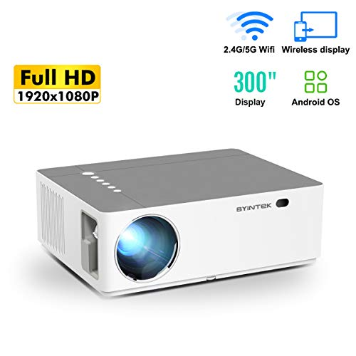 Aibecy BYINTEK K20 Smart 1080P Full HD Projector 500 ANSI Lumens LED Video Video Projector con sistema operativo Android WiFI Pantalla inalámbrica Compartir Compatible con teléfono PC Laptop ect.