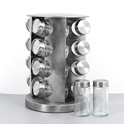 Kruidenrek, draaibaar, roterend kruidenrek van roestvrij staal, kruidenrek rond, kruidencarrousel voor keukenkast met 16 kruidenpotjes