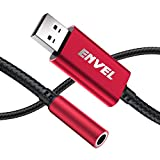 ENVEL Headset Adapter 3.5mm Female to USB Male, Built-in Chip External Stereo Sound Card,TRRS 4-Pole Mic-Supported USB to Headphone Adapter for PS4 Laptop PC and More (Red)