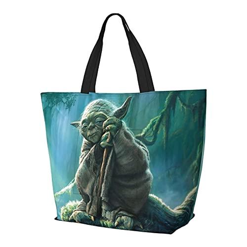 Baby Yoda Star The Wars Bolso de mano con asa de hombro estilo simplicidad, gran capacidad, bolsa de compras, gimnasio, playa, viajes, diario, unisex, plegable