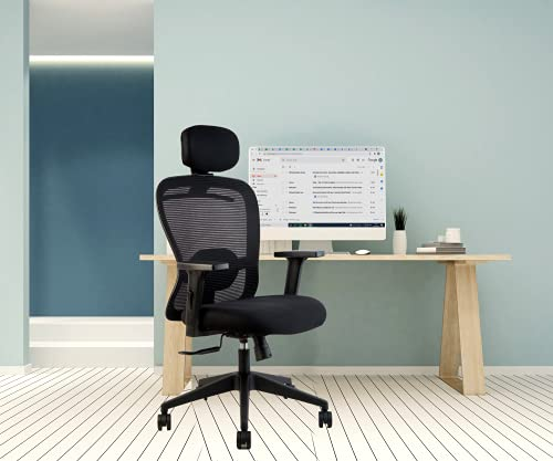 INNOWIN ® Craft High Back Breathable Mesh Office Chair with Adjustable Arms and Head Rest (Black)