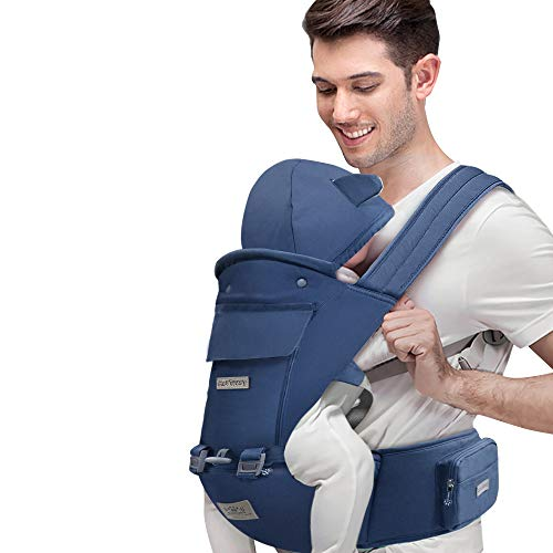 BabyCarrierwithRemovableHood FRUITEAM Baby Carrier One Size Fits All Adapt to Infants and Toddlers Ergonomic 6in1 Baby Carrier(Eveningmist Blue