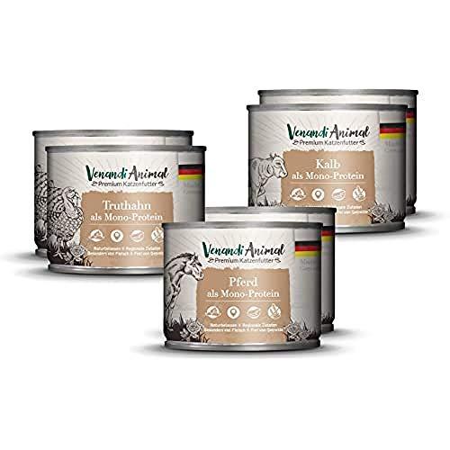Venandi Animal - Pienso Premium para Gatos - PAQUEE DE Prueba II 2*Caballo, 2*Ternero, 2*Pavo - Completamente Libre de Cereales - 6 x 200 g