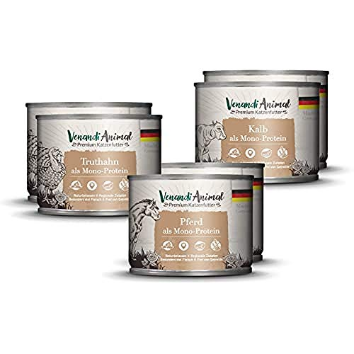 Venandi Animal Mangime per Gatti Premium, Pacchetto di Prova II 4 Cavallo, 4 Vitello, 4 Tacchino, Senza Cereali - Pacco da 6 x 200 g