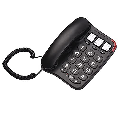 Funien Teléfono con Cable, Teléfono con Cable Negro con botón Grande Escritorio Teléfono Fijo Teléfono de Pared Soporte para teléfono Manos Libres/Rellamada/Flash/Marcación rápida/Control de
