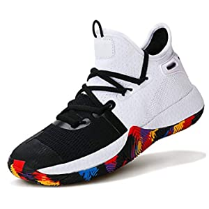 ASHION Boys Basketball Shoes Comfortable Kids Basketball Sneakers Youth Mid-top Slip-on Girls Running Shoes Lightweight Big Little Kids Shoes Indoor Outdoor Size 3 White