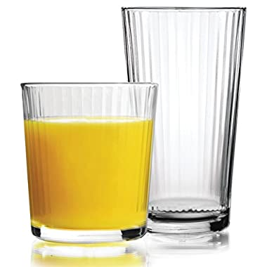 Circleware Spectrum Huge Set of 16 Drinking Glasses, 8-17oz and 8-13oz Double Old Fashioned Whiskey Glass