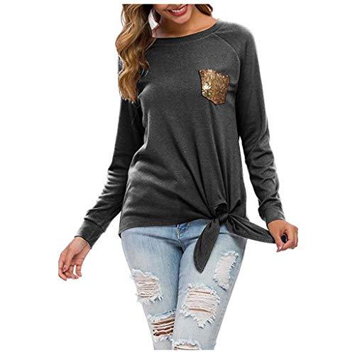 DQANIU Beiläufige Bluse, geknotete Bluse der Frauen Normallack-langärmliges Sequin-Taschen-Bowknot-Rand-Herbst-beiläufiges Hemd übersteigt Standardtuniken-Bluse