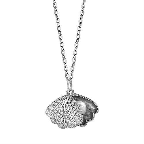 RUiillg Collar de Mujer、Gargantilla s925 Collar de Perlas de Concha de Diamantes con Incrustaciones de Plata Pura diseño de nicho pequeño artículo Fresco Decorativo Temperatura joyería de Plata Perla